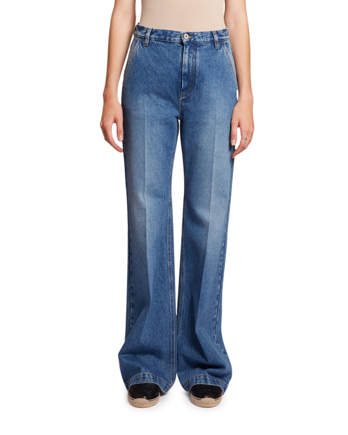 Loewe Jeans FLARED HIGH-RISE WASHED DENIM JEANS