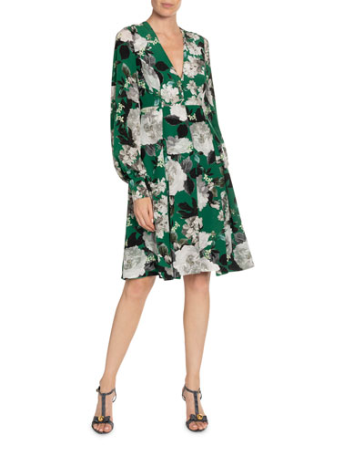 Wyona Floral-Print Silk V-Neck Dress