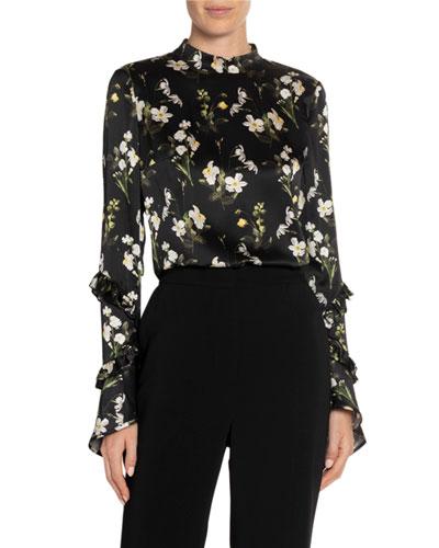 Louella Daffodil-Print Bell-Sleeve Top