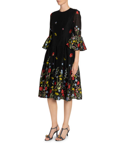 Irvine Floral Fil Coupe Tulip-Sleeve Dress