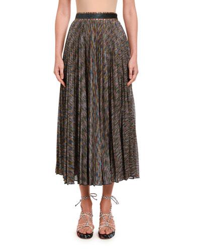 Sparkled-Knit Pleated Maxi Skirt