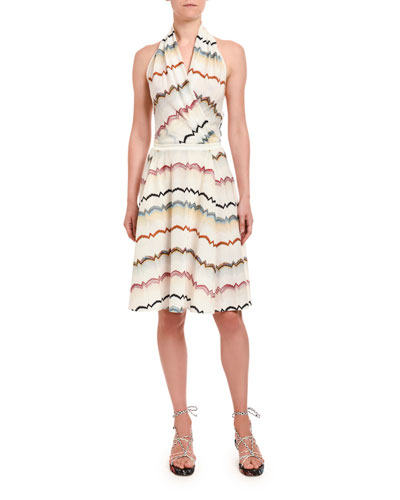 Stereo Zigzag Halter Mini Dress
