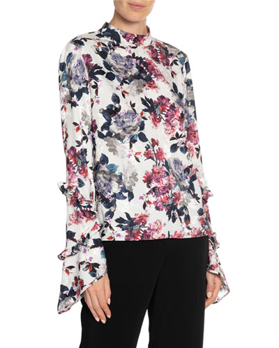 Louella Rose Blossom Print Bell-Sleeve Top
