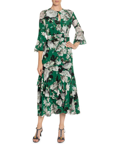 Florence Wallpaper-Print Silk Ruffled Dress
