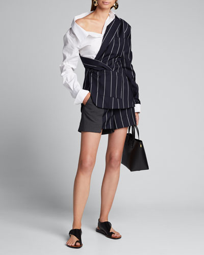 Patchwork-Pinstriped Extended Shorts