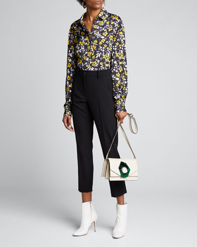 Floral-Print Knotted Shirt