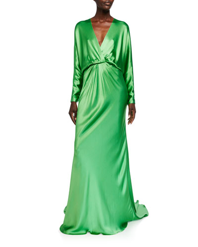 Crepe-Back Satin Draped Dolman Sleeve Gown