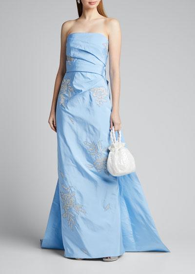 Strapless Beaded-Taffeta Column Gown