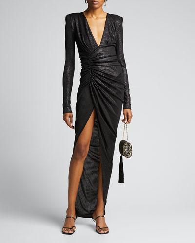 Lame Deep V-Neck Ruched Dress