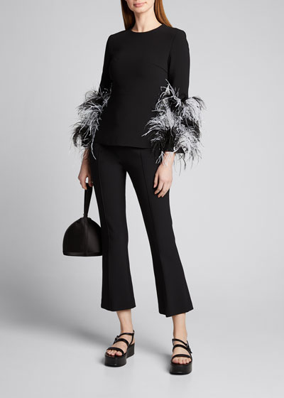 Feather-Cuffed Blouse