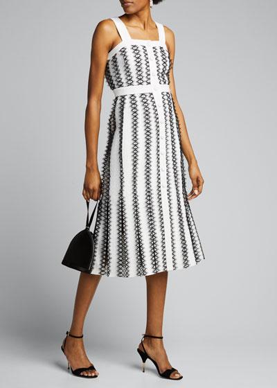 Lace-Striped Tweed Midi Dress