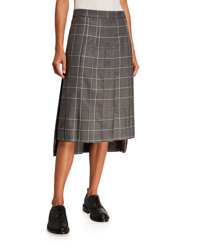 Windowpane Wool Maxi Skirt