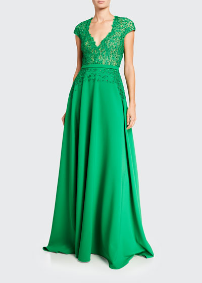 Flower Lace Bodice V-Neck Gown