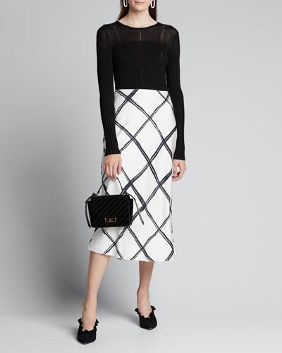 Windowpane Print Silk Crepe de Chine Midi Skirt