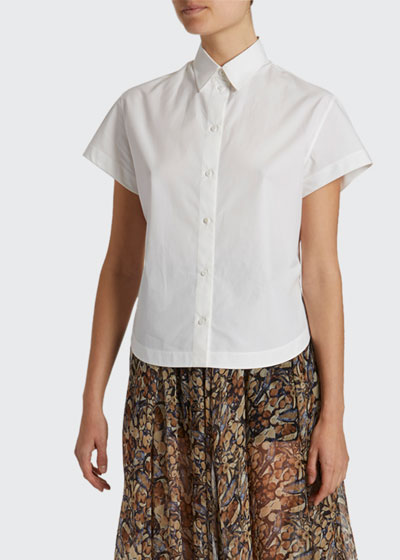 Poplin Short-Sleeve Button-Front Shirt