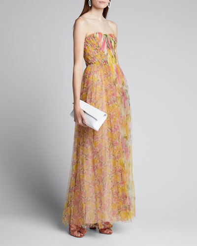 Strapless Printed Tulle Gown