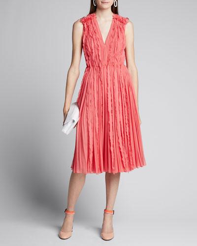Crinkled Chiffon Sleeveless V-Neck Dress