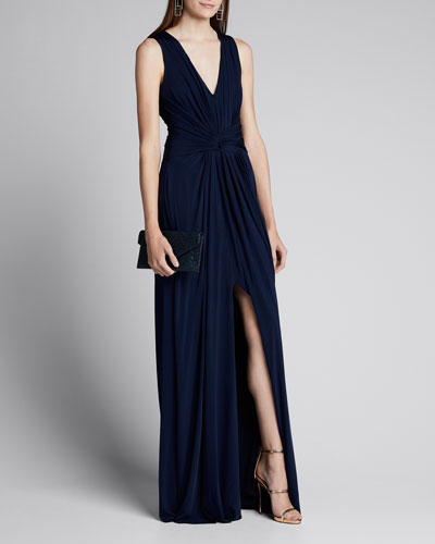 Fluid Evening Jersey Dress w/ Knotted Front