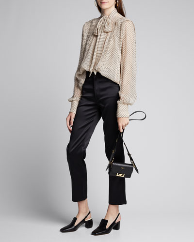 Flock-Dotted Crinkled-Chiffon Blouse