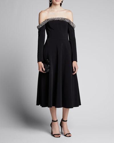 Jeweled Off-the-Shoulder Crepe Cocktail Dress