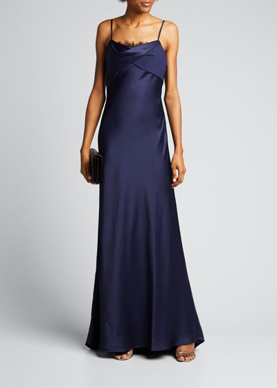 Lace-Trimmed Satin Slip Gown