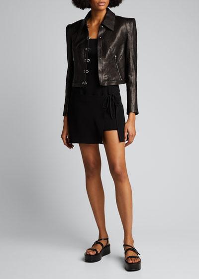 Leather Hook-Front Jacket