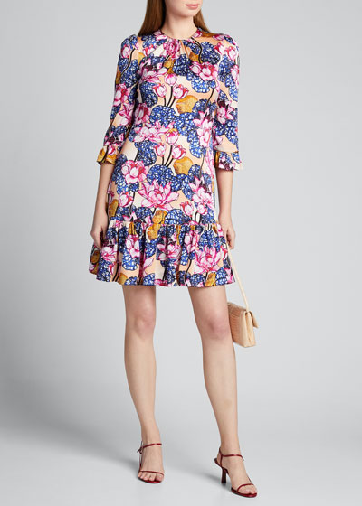 Rose-Print Satin 1/2-Sleeve Dress