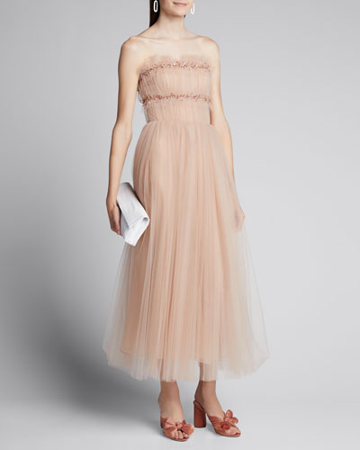 Ruched Tulle Strapless Cocktail Dress