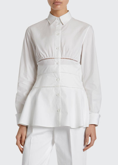 Poplin Peplum Button-Front Shirt