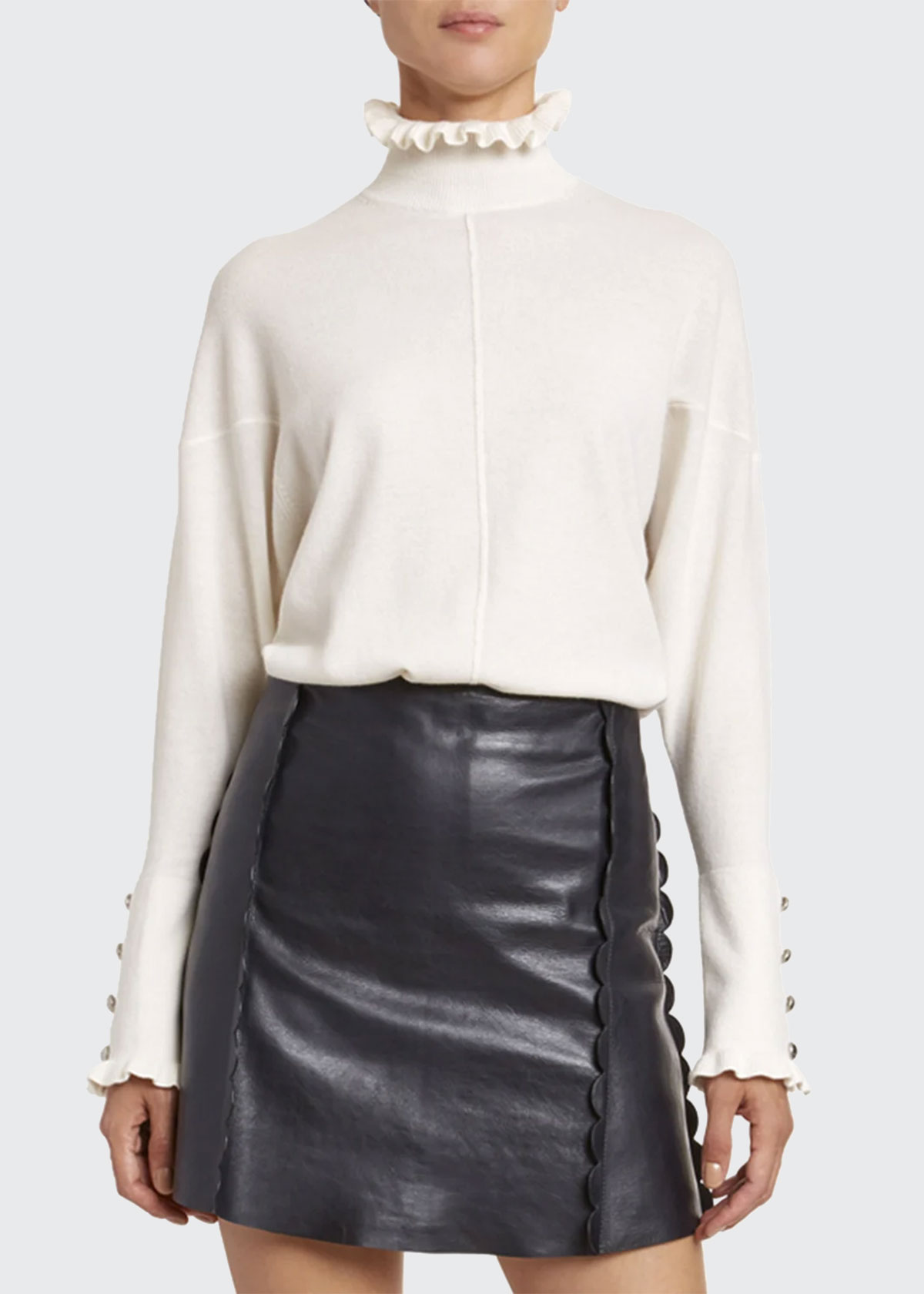 Chloé Sweaters ICONIC CASHMERE FRILL-TRIM SWEATER
