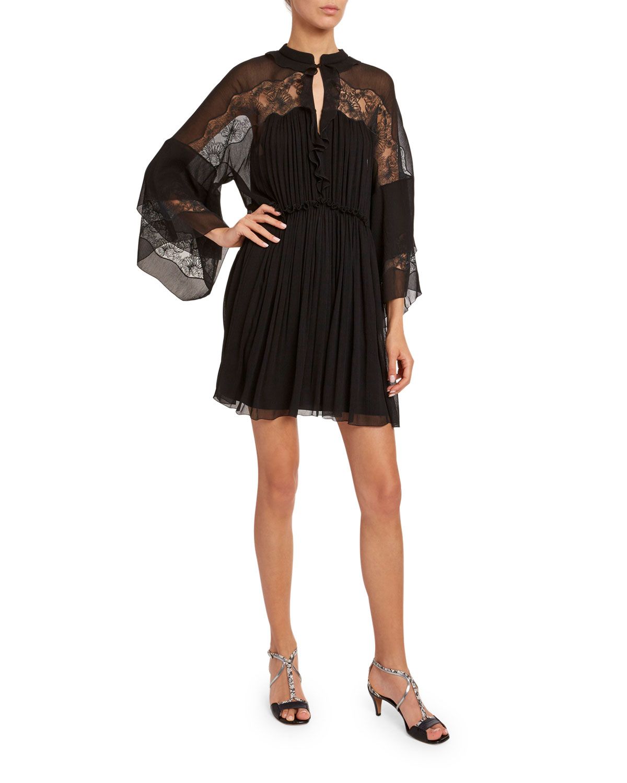 Chloé Dresses BELL-SLEEVE LIGHTWEIGHT CHIFFON MINI DRESS