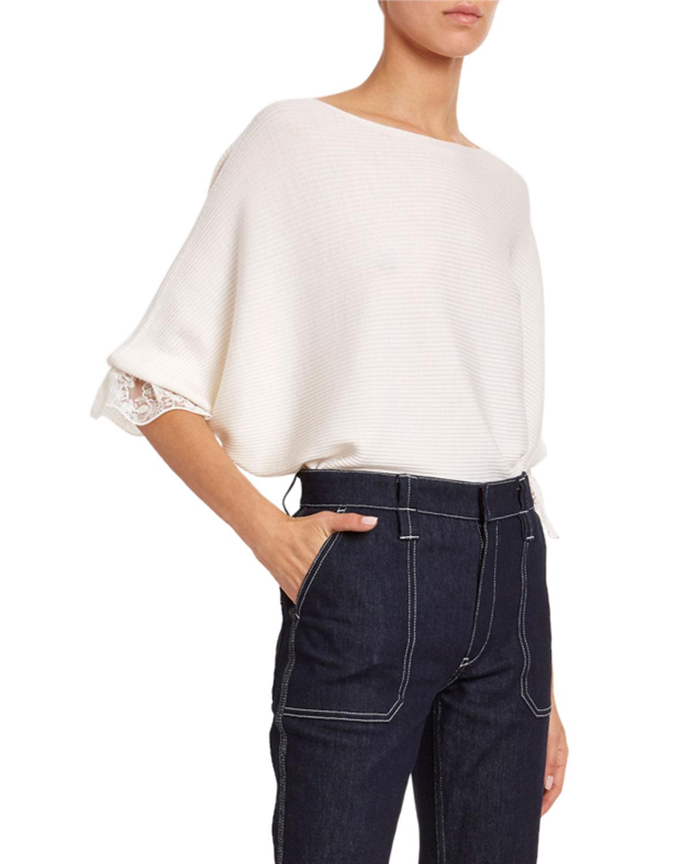 Chloé Sweaters LACE-CUFF WOOL-SILK SWEATER
