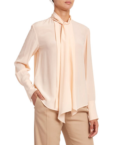 Silk Crepe de Chine Tie-Neck Blouse