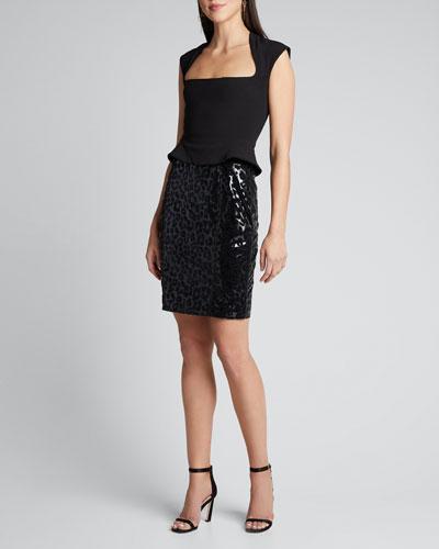 Leopard-Flocked Vinyl High-Waist Skirt