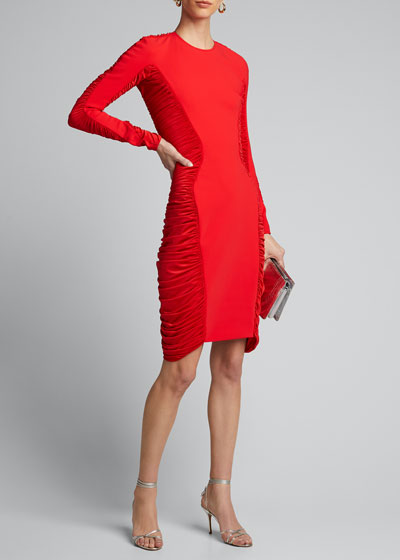Jersey Long-Sleeve Ruched-Side Dress