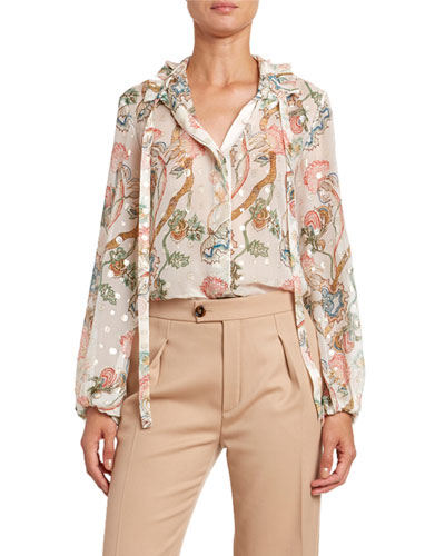 Flower Print Metallic Jacquard Top