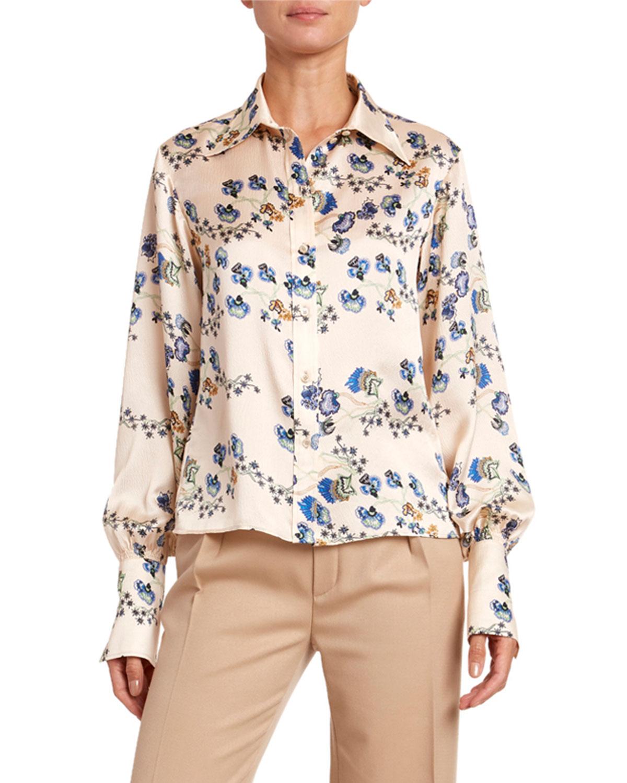 Chloé T-shirts FLOWER-PRINT HAMMERED SATIN SHIRT