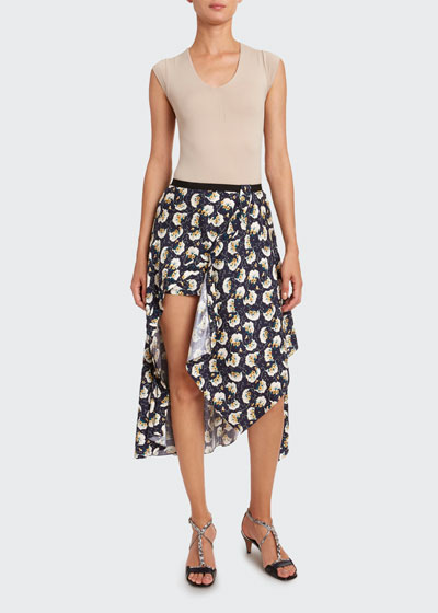 Bouquet-Print Silk Asymmetric Skirt