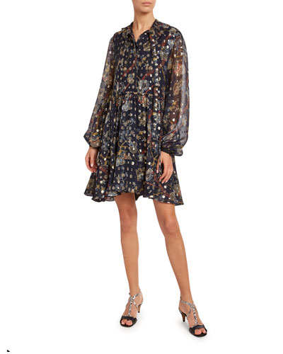 Flower-Print Metallic Jacquard Shirtdress