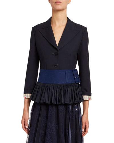 Stretch Wool Peplum Jacket