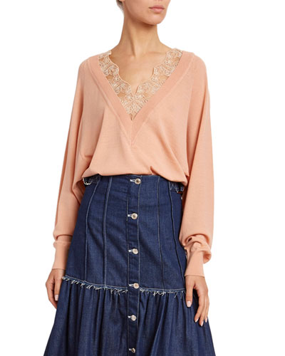 Lace V-Neck Wool-Silk Sweater