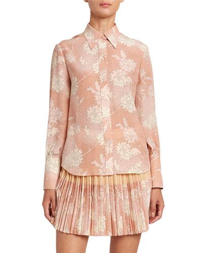 Floral Print Crepe Button Front Shirt