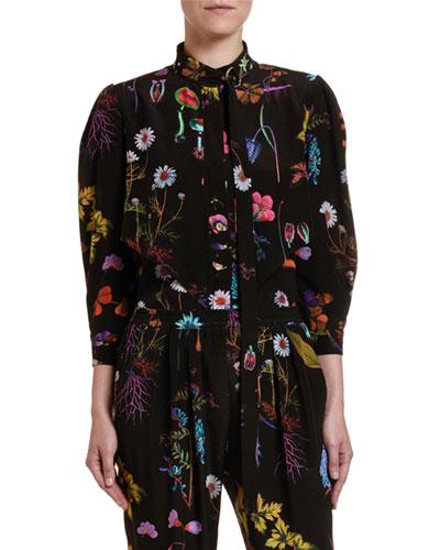 Dark Floral Silk Button-Front Top