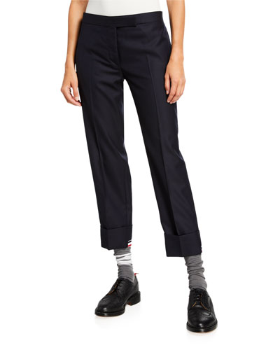 Low-Rise Rolled-Cuff Trousers