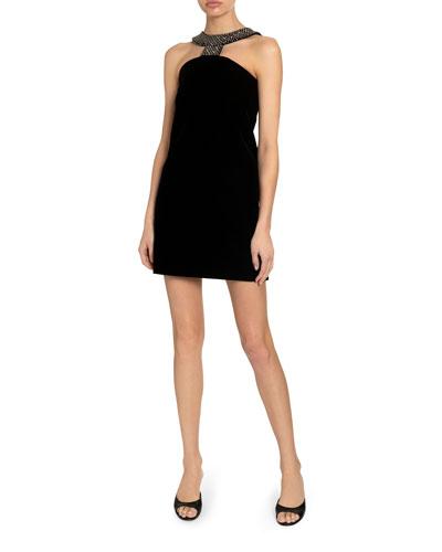 Velvet Cutout Crystal Neckline Dress