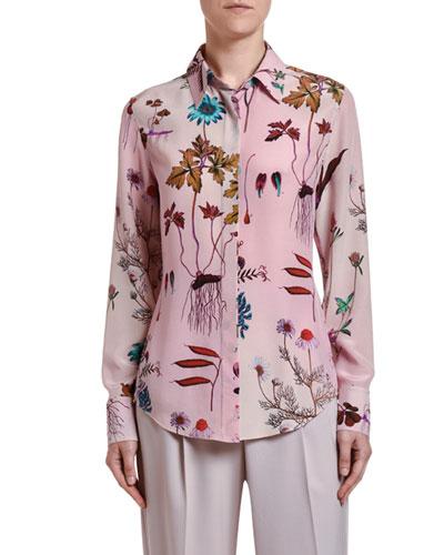 Floral-Print Silk Button-Front Shirt