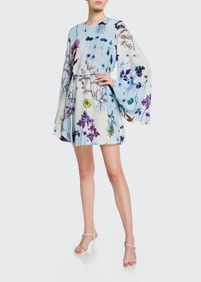 Floral Print Silk Bell-Sleeve Mini Dress