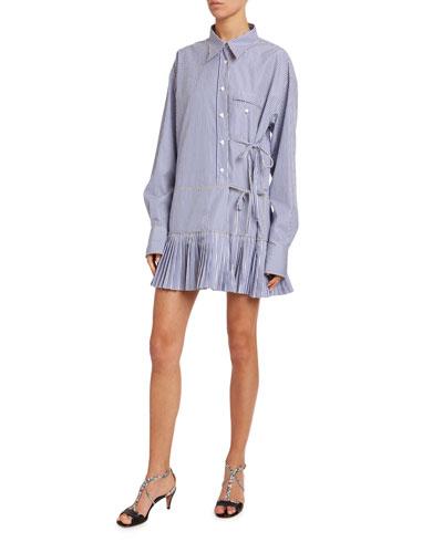 Striped Poplin Pleated-Hem Dress
