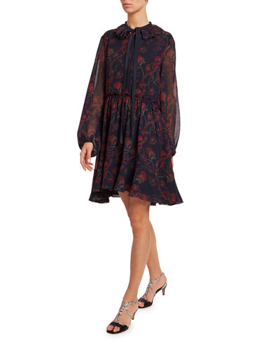 Floral-Print Silk-Georgette Tie-Neck Dress