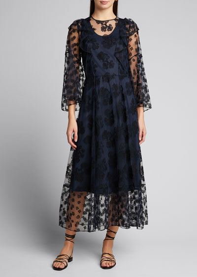 Embroidered Tulle Asymmetric Dress